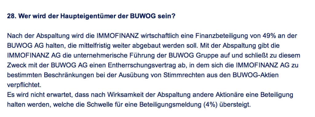 Frage an Immofinanz/Buwog: Wer wird der Haupteigentümer der Buwog sein? (18.04.2014)
