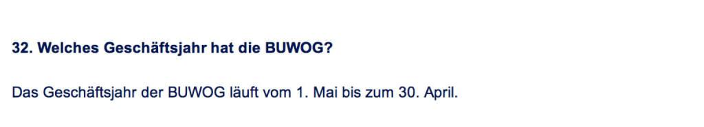 Frage an Immofinanz/Buwog: Welches Geschäftsjahr hat die Buwog? (18.04.2014)