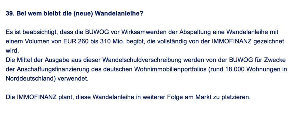 Frage an Immofinanz/Buwog: Bei wem bleibt die (neue) Wandelanleihe? (18.04.2014)