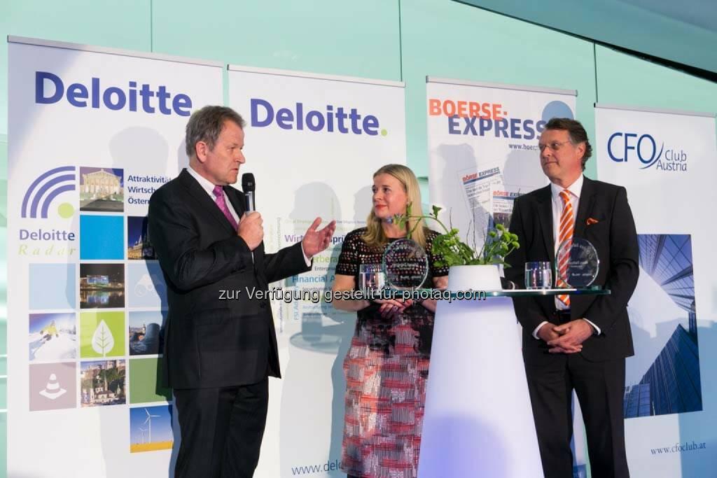 Eduard Zehetner (Immofinanz), Karin Mair (Deloitte), Hans Tschuden (Telekom Austria), © Martina Draper für BE  (27.04.2014)