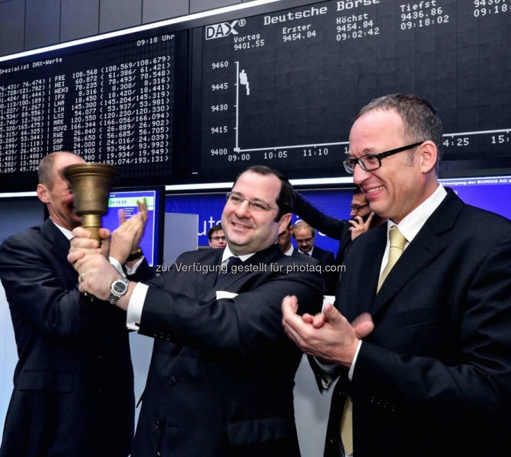 Daniel Riedl, Ronald Roos (Buwog), Eröffnungsglocke, © Immofinanz (29.04.2014)