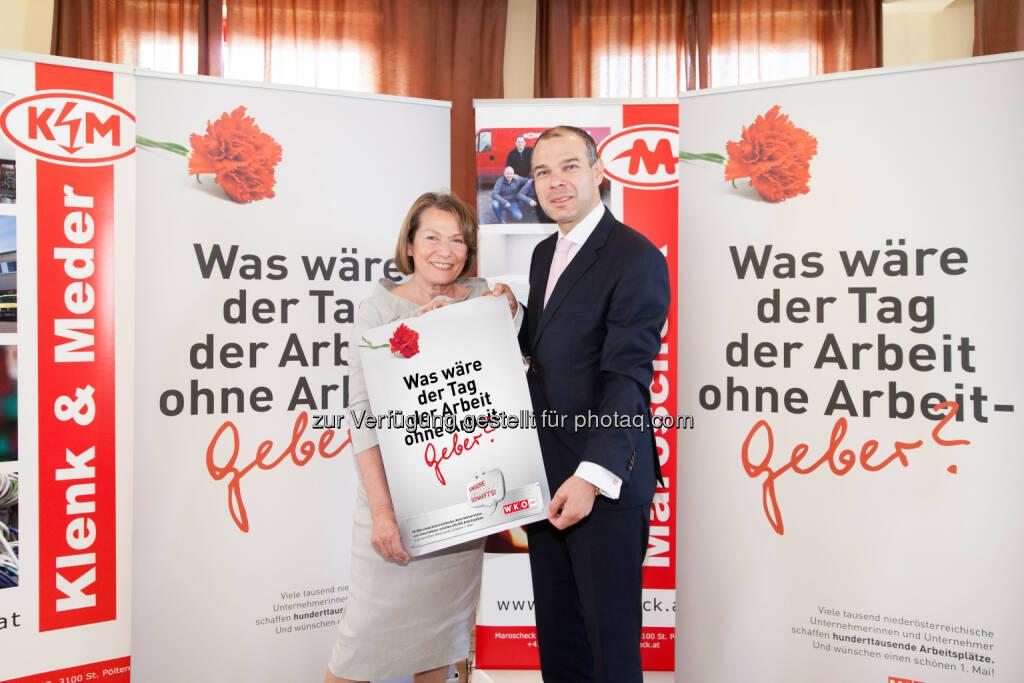Wirtschaftskammer NÖ feierte Tag der Arbeitgeber: WKNÖ-Präsidentin Sonja Zwazl und Klenk & Meder-Geschäftsführer Herbert Klenk jun. (c) Lechner , © Aussendung (03.05.2014)