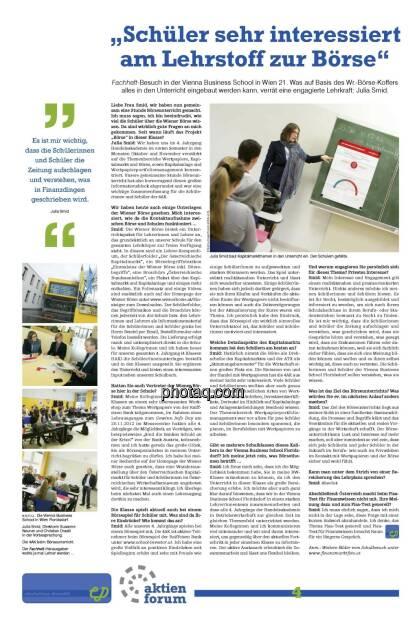"""""""Schüler sehr interessiert am Lehrstoff zur Börse"""" (21.12.2012)"""