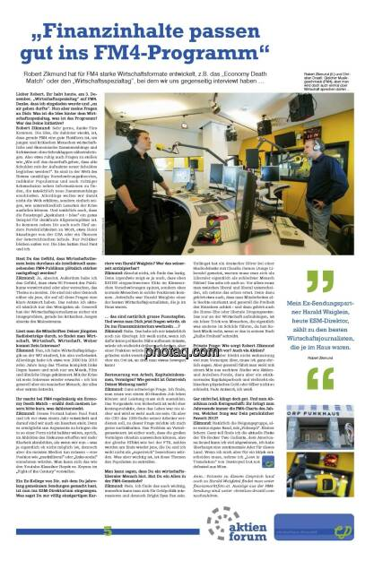 """""""Finanzinhalte passen gut ins FM4-Programm"""" - Drastil, Robert Zikmund (fm4) (21.12.2012)"""
