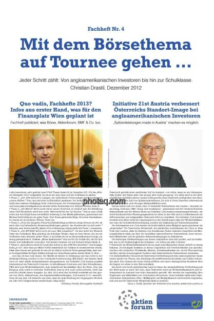 Mit dem Börsethema auf Tournee gehen ... - Drastil, Claus Raidl (21.12.2012)