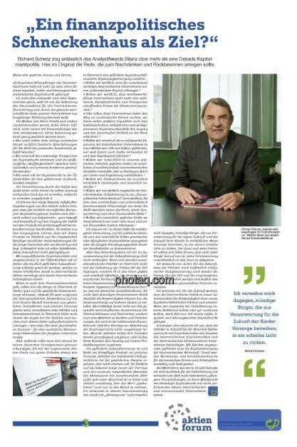 """""""Ein finanzpolitisches Schneckenhaus als Ziel?"""" -  Richard Schenz (21.12.2012)"""