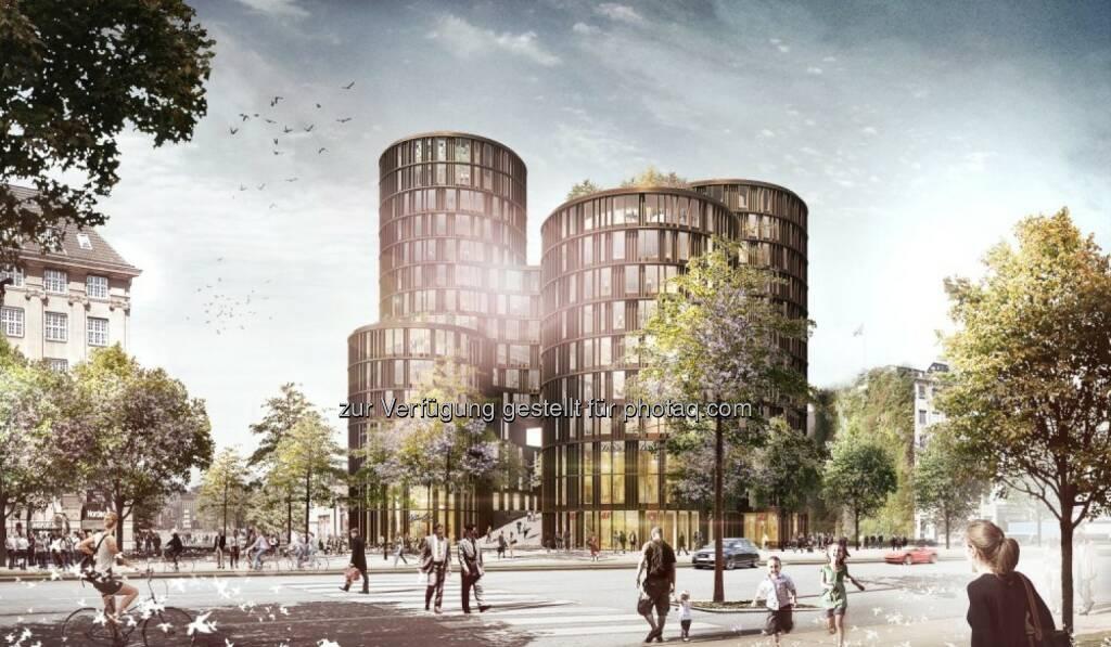 """Züblin A/S, eine dänische Gesellschaft des europäischen börsenotierten Baukonzerns Strabag SE, hat den Bauauftrag für das Projekt """"Axeltorv, AT2"""", ein vierzehngeschossiges Multifunktionsgebäude am Platz gegenüber dem Tivoli mitten im Zentrum Kopenhagens, erhalten. Der entsprechende Vertrag für den Schlüsselfertigbau über eine Auftragssumme von rund € 103 Mio. ist bereits unterzeichnet. (Bild: Strabag) (08.05.2014)"""