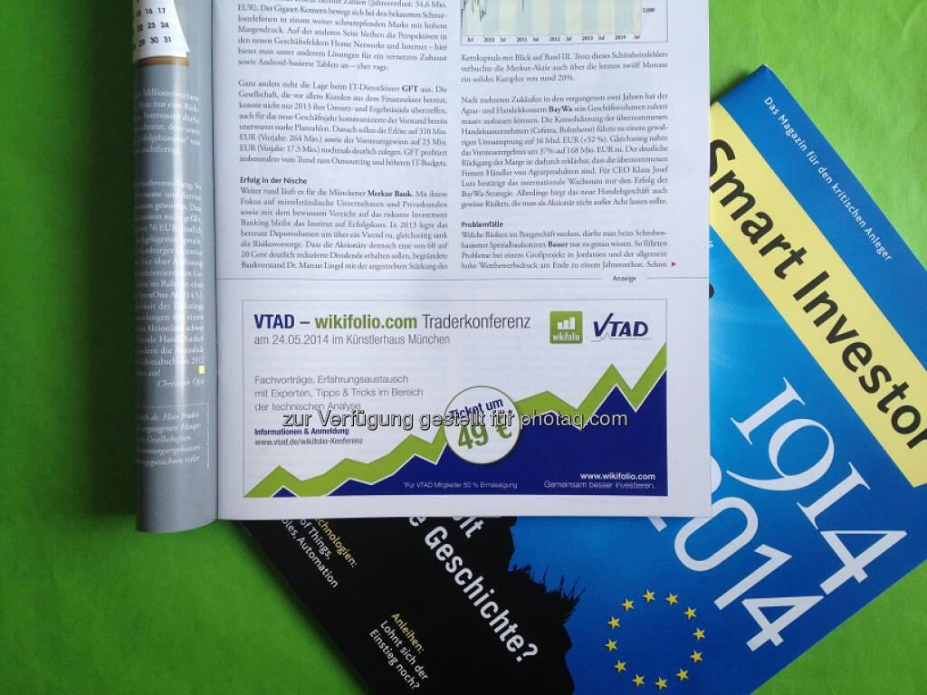 Am 24. Mai findet der 1. VTAD / wikifolio.com Social Trading Tag statt, eine Plattform für Trader und Anleger zum Austausch über Anlagestrategien, Softwaretools und Money-/Risikomanagement. Hier geht's zur Eventinfo und Anmeldung: http://www.wikifolio.com/de/Events/vtad-wikifolio-social-trading-tag  Source: http://twitter.com/wikifolio (09.05.2014)