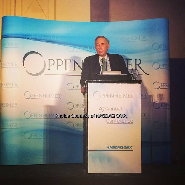 Nasdaq's Vice Chairman Sandy Frucher gives the opening remarks at the 15th Annual Oppenheimer Israeli Conference  Source: http://facebook.com/NASDAQ (11.05.2014)