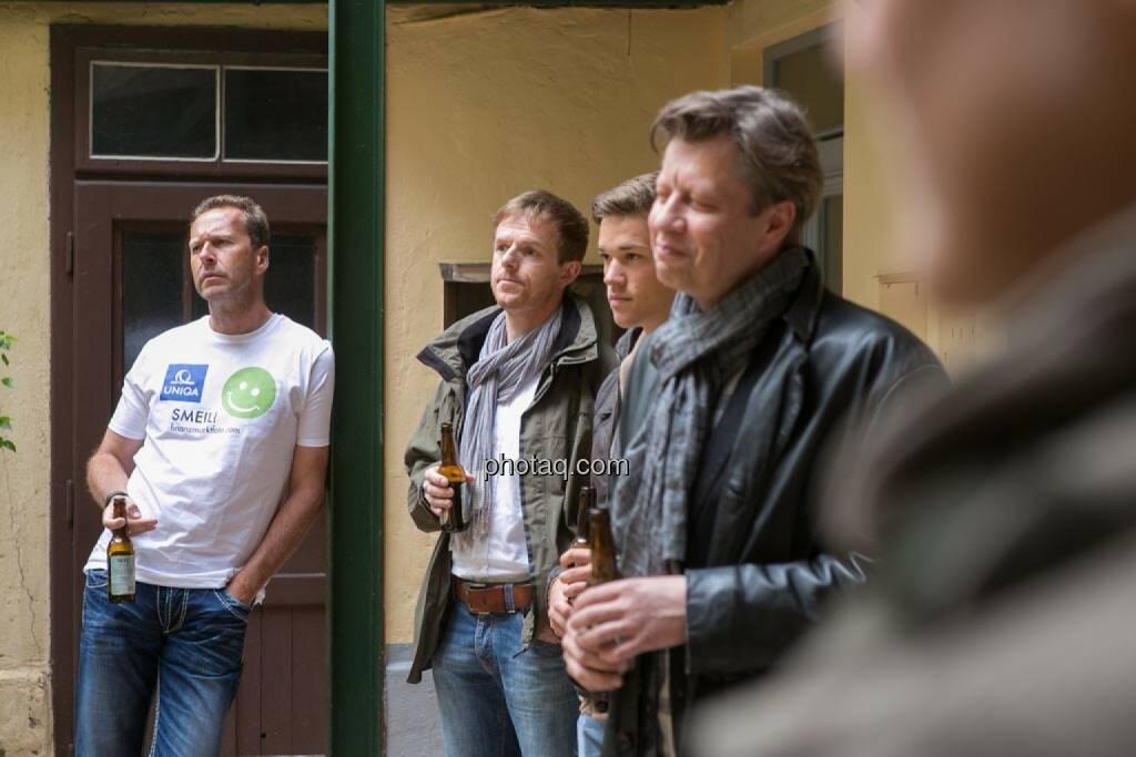 Oliver Olbrich (Olbrich Media und Immobilien), Christian-Hendrik Knappe (Deutsche Bank), Gerald Pollak (Sieger der YPD-Challenge von ServusTV ), Robert Gillinger (Börse Express), © finanzmarktfoto.at/Martina Draper (15.05.2014)