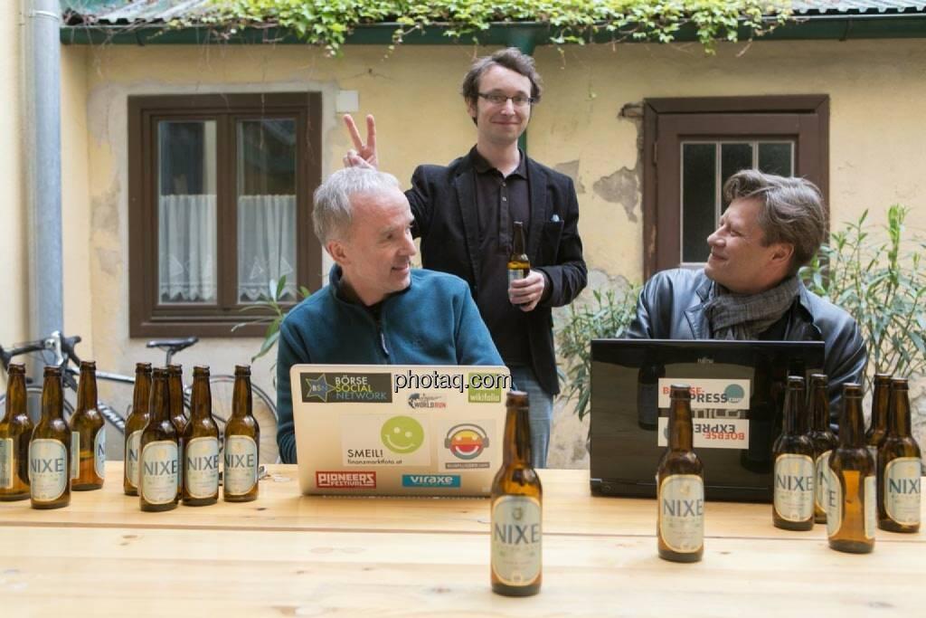 Christian Drastil, Daniel K. (Praktikantenaspirant), Robert Gillinger (Börse Express), © finanzmarktfoto.at/Martina Draper (15.05.2014)