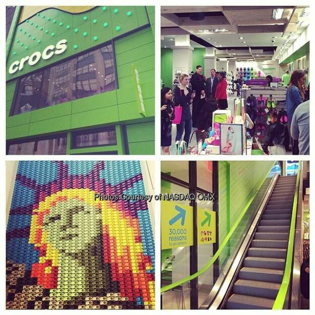 Love the @crocs mosaic of the Statue of Liberty at the new store in NYC on 34th Street! #crocsnyc #findyourfun #grandopening @crocs $CROX  Source: http://facebook.com/NASDAQ (15.05.2014)