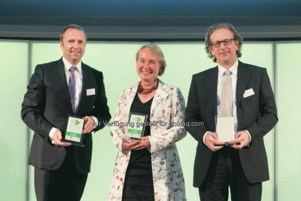 Siegertrio: Frank Weingarts (UniCredit), Heike Arbter (RCB), Markus Kaller (Erste), © Martina Draper für Börse Express (16.05.2014)