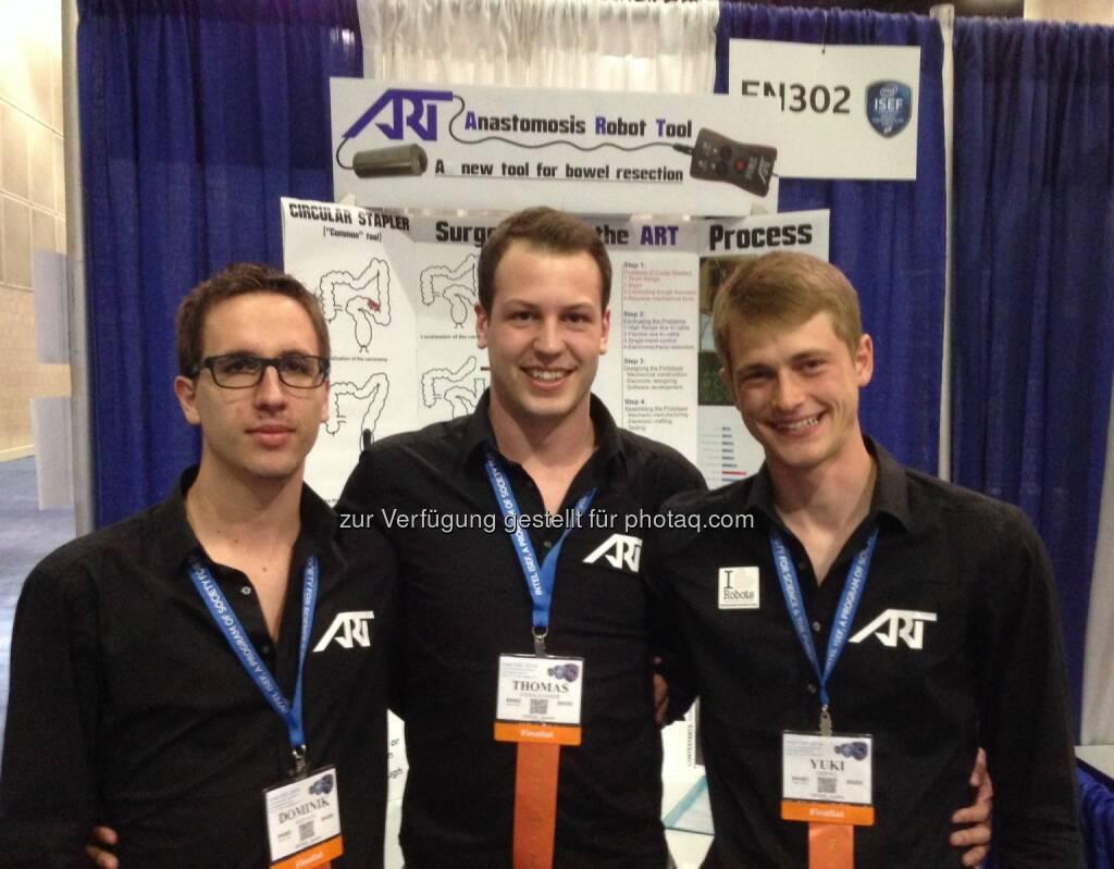 Dominik Kovács, Thomas Steinlechner und Yuki Trippel belegen den 2. Platz in der Kategorie Bioengineering beim weltweit größten Nachwuchsforscherwettbewerb Intel ISEF in den USA (Bild: Austria Wirtschaftsservice GmbH), © Aussendung (20.05.2014)