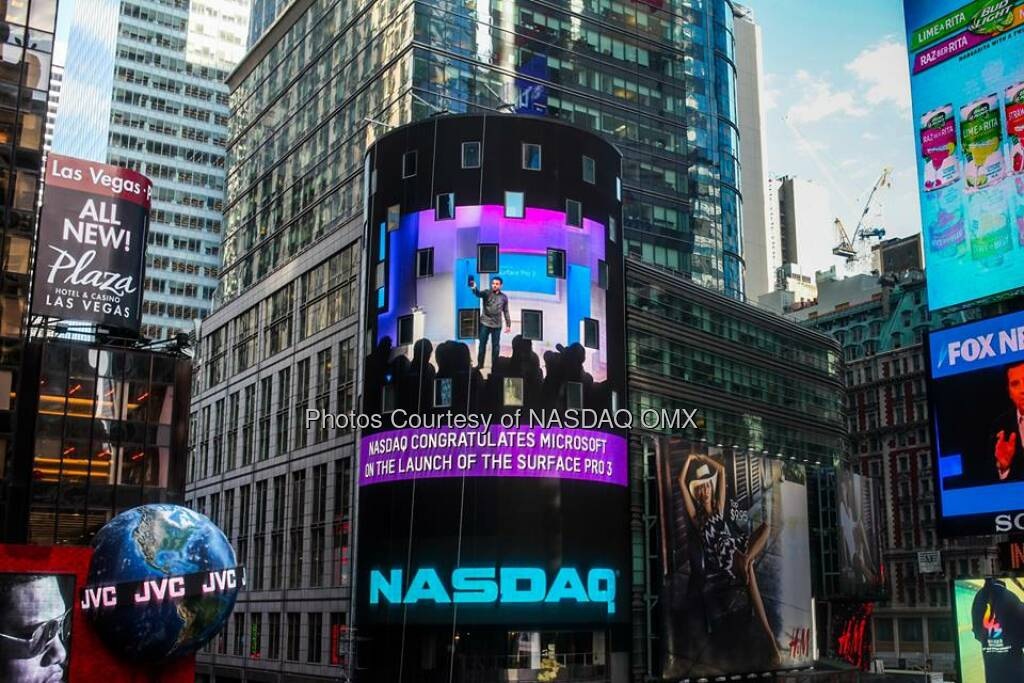 $MSFT: Nasdaq congratulates Microsoft on the launch of the new Surface Pro 3 Source: http://facebook.com/NASDAQ (21.05.2014)