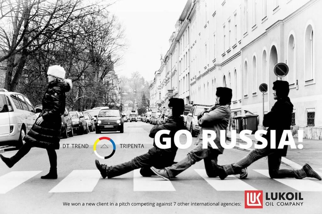 Go Russia Daniela Grüneis, Klaus Peinhaupt, Thomas Holzer und Mario Kraussler: DT Trend / Tripenta freuen sich über einen Deal mit Lukoil, © (c) die jeweiligen Agenturen (21.05.2014)
