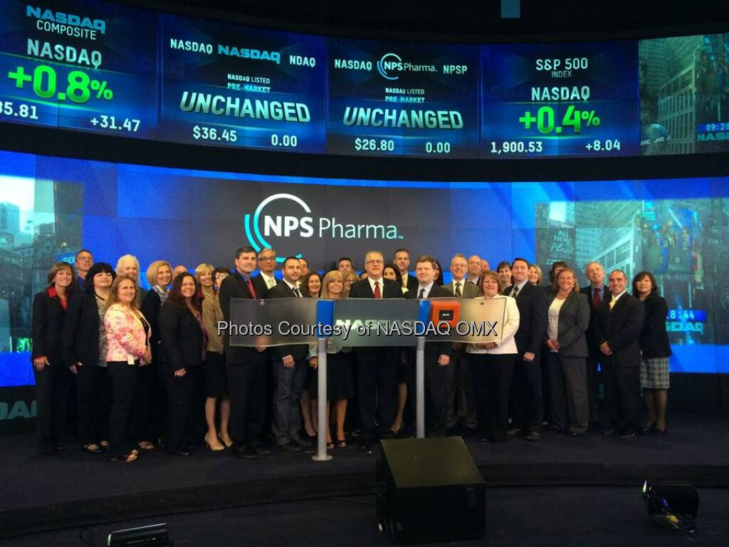 $NPSP NPS Pharma rings the Nasdaq Opening Bell -  Source: http://facebook.com/NASDAQ (27.05.2014)