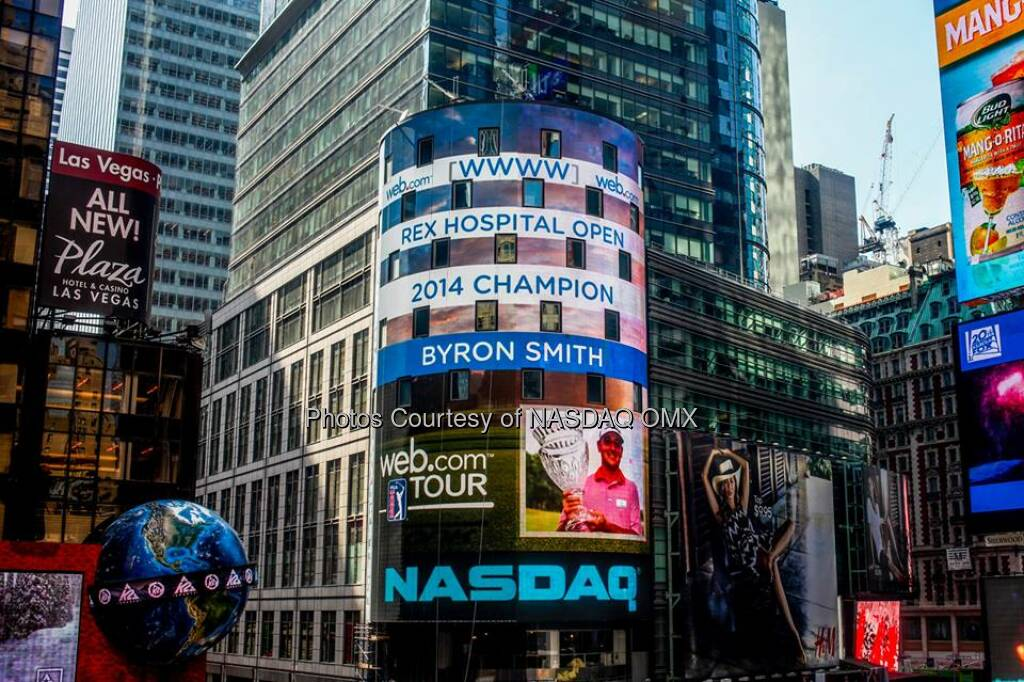 Congratulations to Byron Smith, winner of WebDotComTour's 2014 Rex Hospital Open Source: http://facebook.com/NASDAQ (27.05.2014)