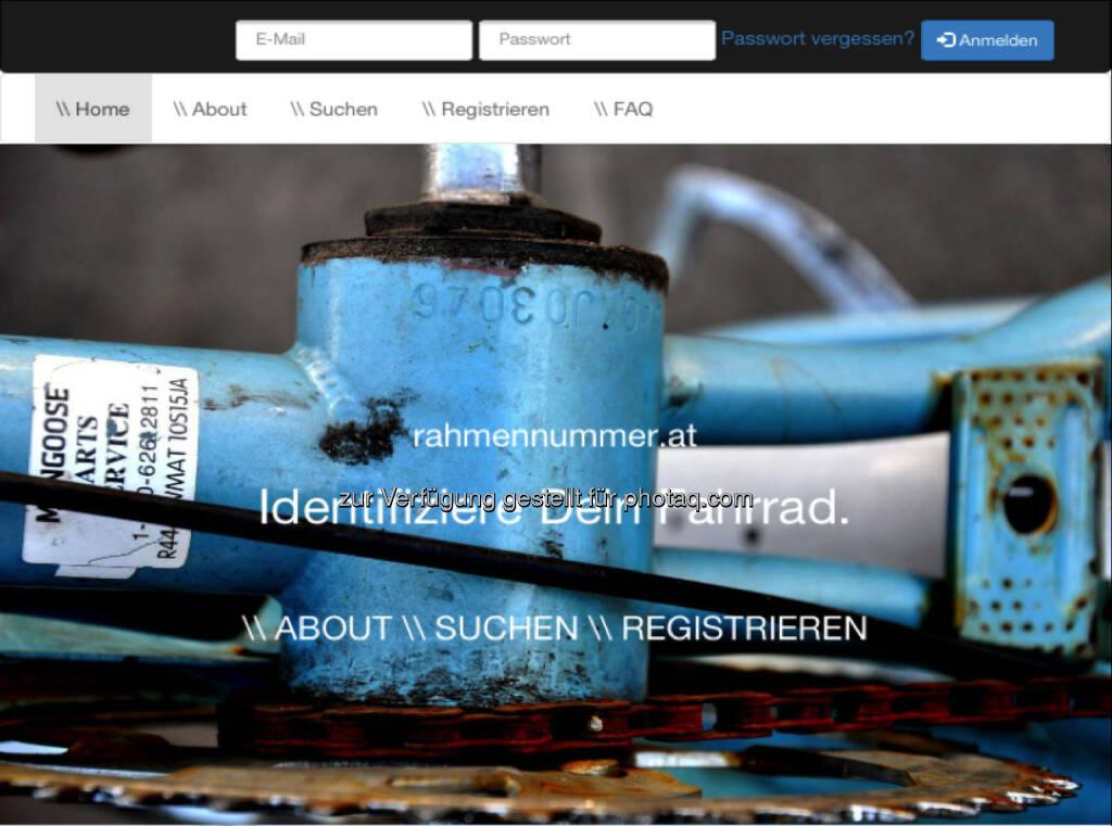 Identifiziere Dein Fahrrad - www.rahmennummer.at , ein privates Projekt von Daniel Folian (Warimpex), siehe hier http://www.christian-drastil.com/2014/06/01/rahmennummerat_soll_fahrraddieben_den_wiederverkauf_erschweren_und_ist_ein_produkt_von_daniel_folian_warimpex (01.06.2014)