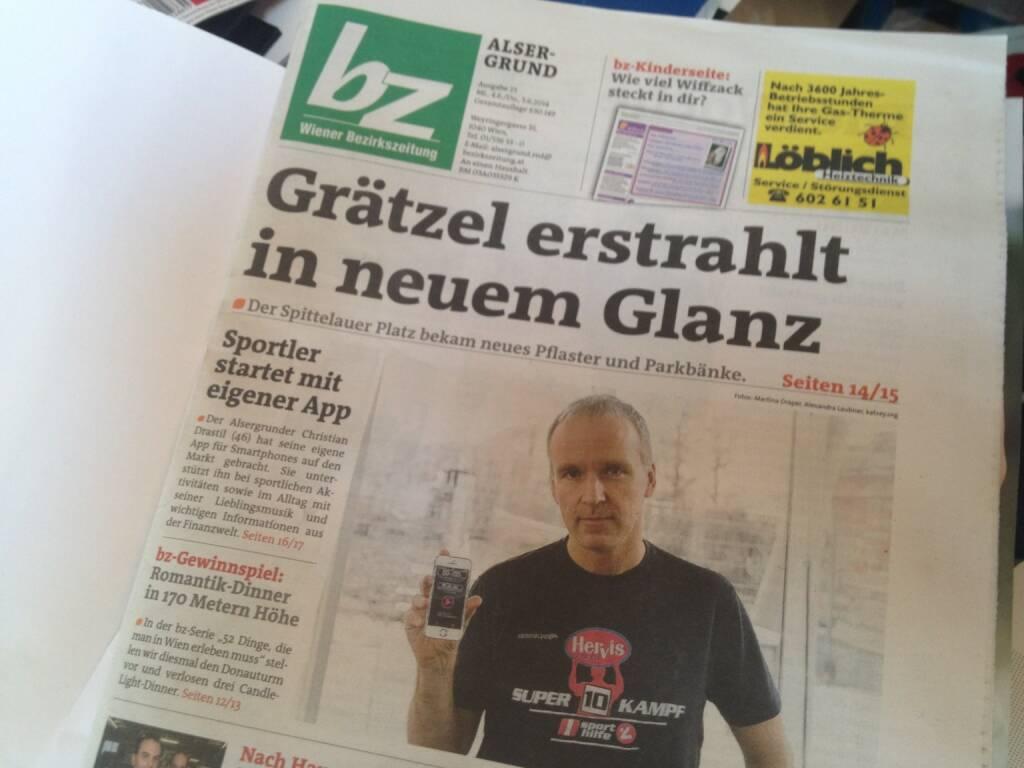 Runplugged am Cover der Bezirkszeitung Alsergrund, Ausgabe 23/2014 , siehe http://www.meinbezirk.at/wien-09-alsergrund/chronik/neue-app-aus-dem-alsergrund-d970275.html (04.06.2014)