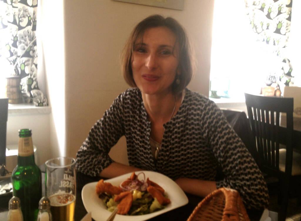 Mit Susanne Stickler, Baader Bank, beim Plausch über Laufen, Bonds, Laufen und Laufen (04.06.2014)