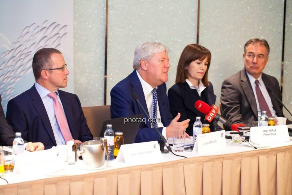 Robert Machtlinger (COO FACC),  Walter A. Stephan (CEO FACC), Birgit Kuras (Börse Wien), Friedrich Mostböck (Erste Group) , © photaq/Michi Mejta (04.06.2014)