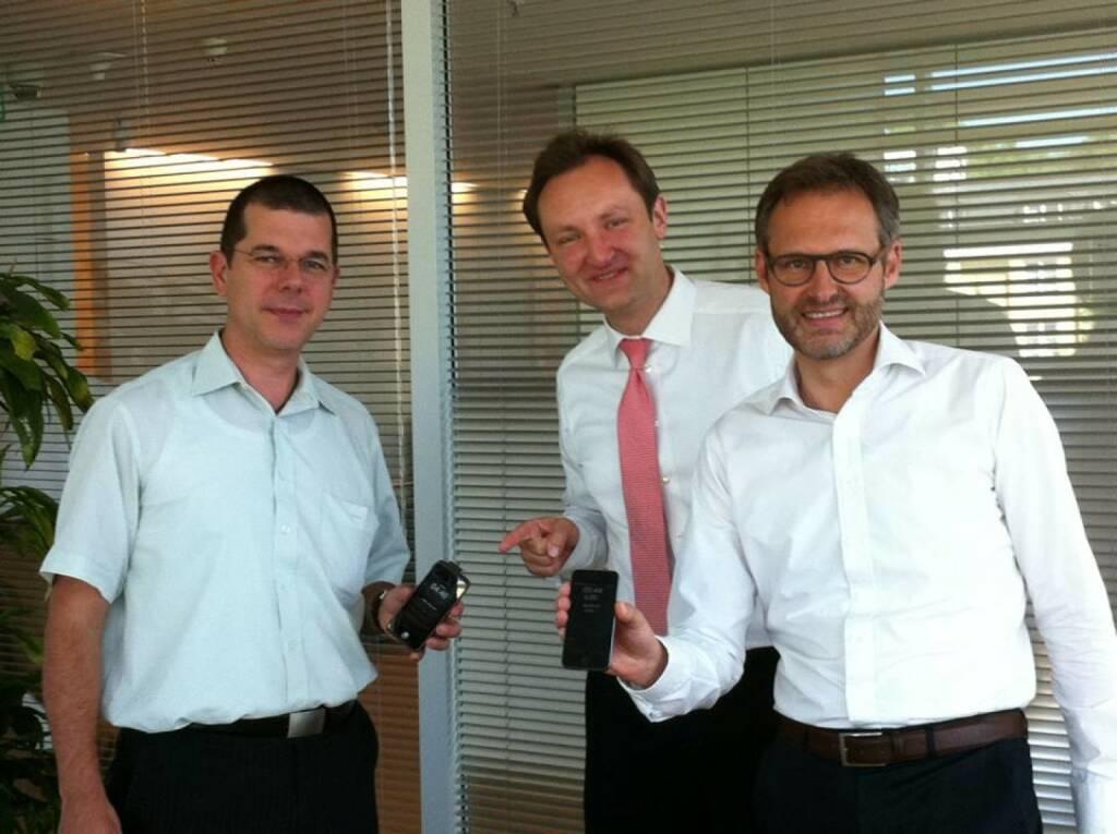 Runplugged-Fans in Bayern: Das Baader Bank-Trio Thomas Podchul (Leiter IT / Systemengineering Unix / Netze), Andreas Fritsche (Revision) und Hans-Wilhelm Eckert (Leiter Corporate Communications) (08.06.2014)