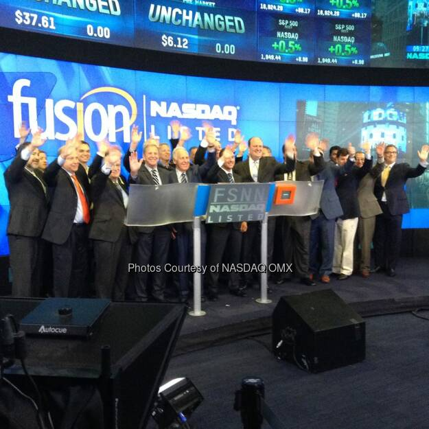 $FSNN Fusion Telecommunications Intl. rings the Nasdaq Opening Bell to begin the week! Source: http://facebook.com/NASDAQ (09.06.2014)