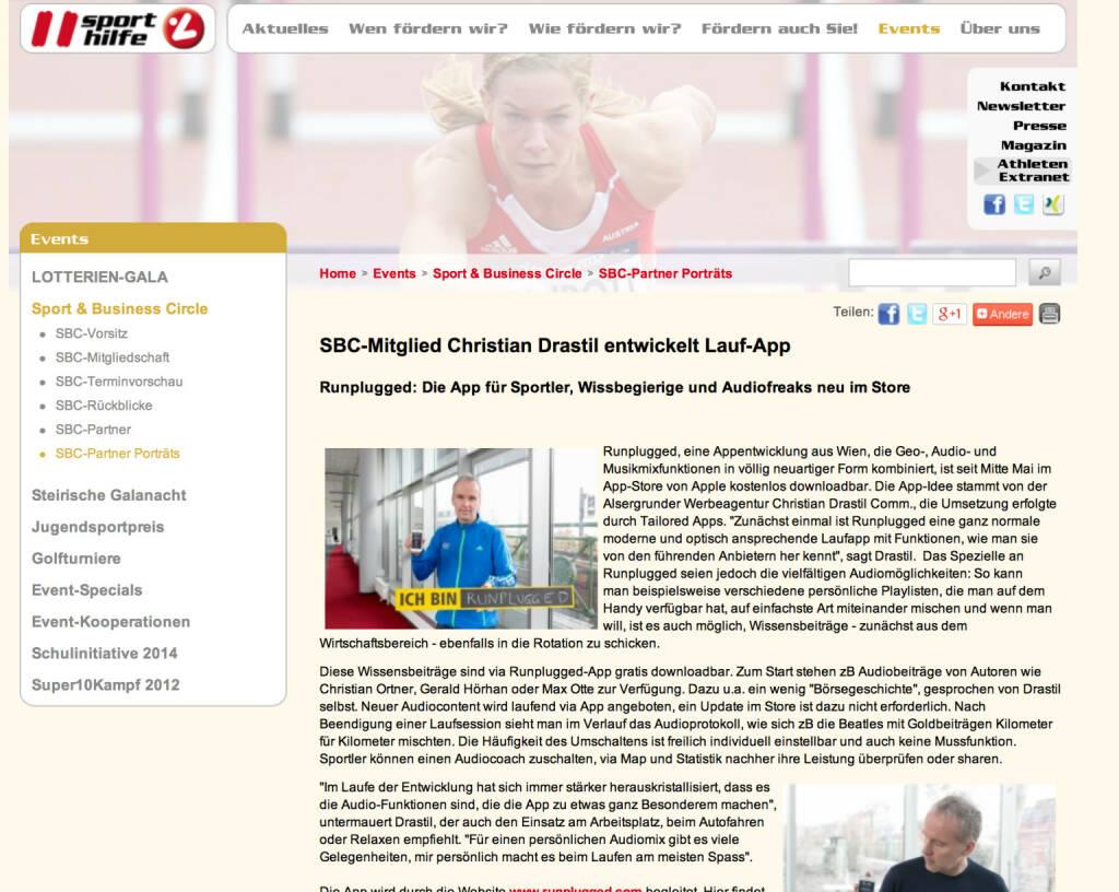 Runplugged auf der Sporthilfe Website http://bit.ly/1igQ3VG (09.06.2014)