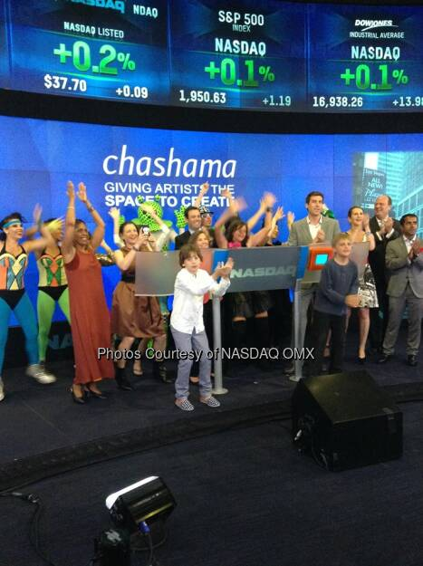 @chashama brought a cast of characters to ring the Nasdaq Closing Bell! Source: http://facebook.com/NASDAQ (10.06.2014)