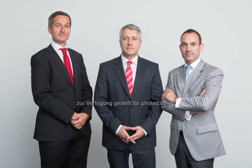 Generali Gruppe Österreich: Der neue Vorstand der Europäischen Reiseversicherung: Vorstandsvorsitzender Wolfgang Lackner (Mitte) mit Andreas Sturmlechner (links) und Jean-Francois Diet.  (11.06.2014)