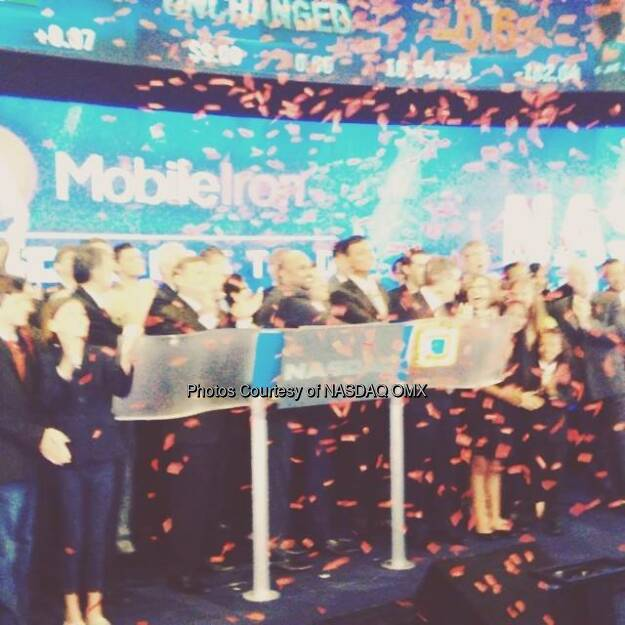 Confetti flies shortly after MobileIron rings the Nasdaq Opening Bell in celebration of IPO. $MOBL  Source: http://facebook.com/NASDAQ (12.06.2014)