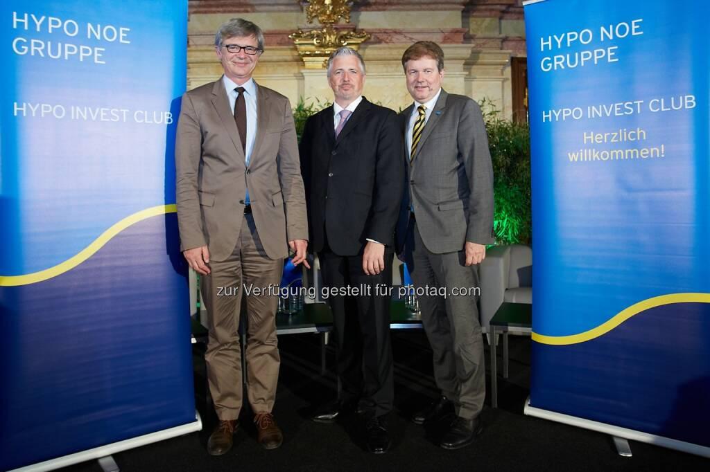 9. Hypo Invest Club: Engelbert Dockner, Wirtschaftsuniversität Wien, deutscher Finanz- und Börsenexperte Dirk Müller und Hypo NOE-Generaldirektor Peter Harold (12.06.2014)