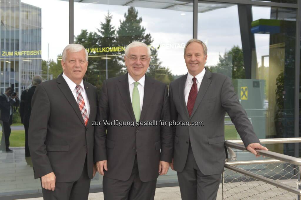 Walter Rothensteiner als Generalanwalt des ÖRV wiedergewählt, im Bild mit seinen beiden Stellvertretern Jakob Auer (l.) und Wilfried Thoma. Fotocredit: ÖRV   (14.06.2014)