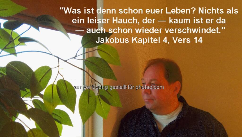 Dietmar Scherf, Investor: Was ist denn schon euer Leben? Nichts als ein leiser Hauch, der — kaum ist er da — auch schon wieder verschwindet. (Jakobus Kapitel 4, Vers 14), © beigestellt (01.01.2013)