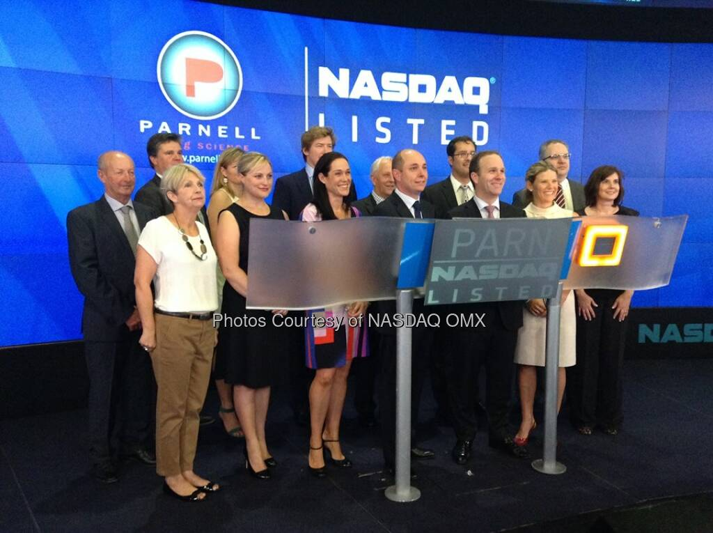 Parnell Pharmaceuticals executives pose for photos shortly before ringing the #NASDAQ Opening Bell! #IPO $PARN  Source: http://facebook.com/NASDAQ (18.06.2014)