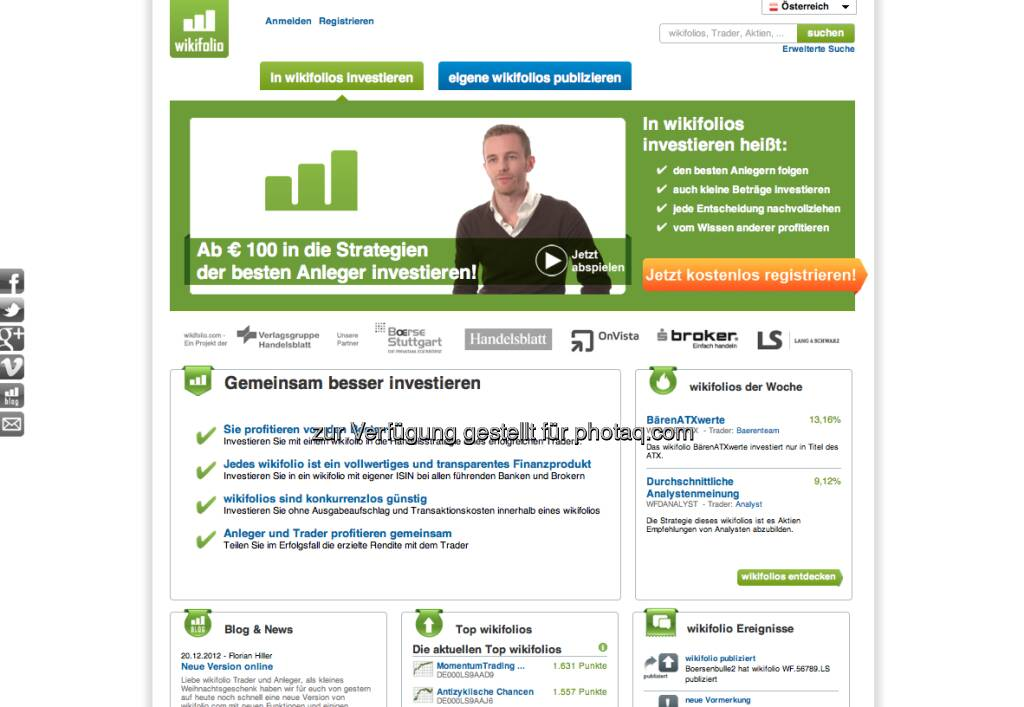 http://www.wikifolio.com - der 2012er-Launch aus Österreich zieht vor allem in Deutschland weite Kreise (03.01.2013)