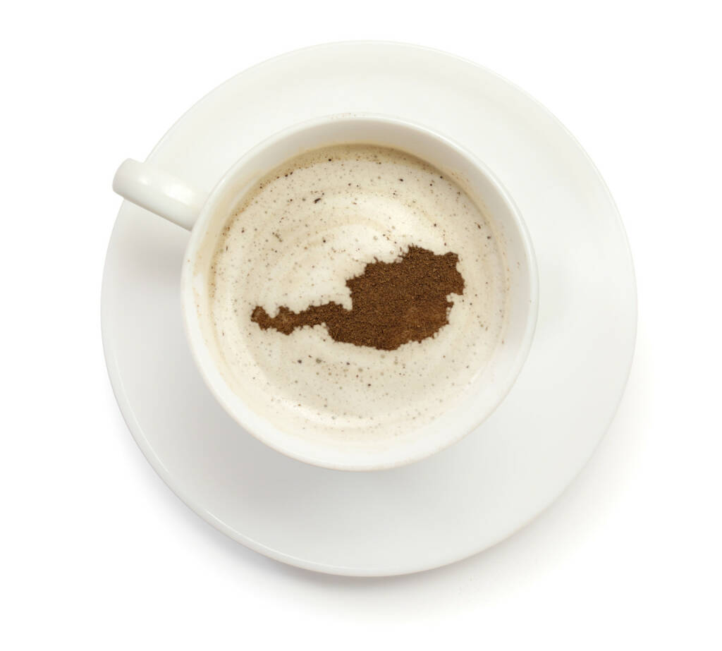 Kaffee, Tasse, Österreich, Umriss - http://www.shutterstock.com/de/pic-199970363/stock-photo-a-cup-of-coffee-with-foam-and-powder-in-the-shape-of-austria-series.html (Bild: shutterstock.com) (23.06.2014)