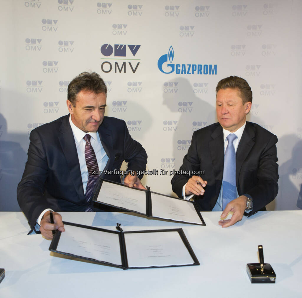 Gerhard Roiss, Generaldirektor der OMV und Alexey Miller, Vorstand des Gazprom Management Committee -  Anlässlich des Besuchs des russischen Staatspräsidenten Vladimir Putin wurde heute in Wien die Aktionärsvereinbarung für die South Stream Austria GmbH unterzeichnet (Bild: OMV) (24.06.2014)