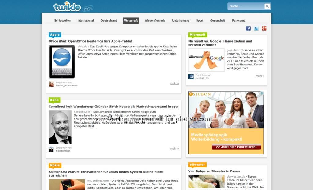 http://www.twikle.de: Netter Ansatz - und: von dort kommt für http://www.finanzmarktfoto.at und http://www.christian-drastil.com interssanterweise viel Traffic  (04.01.2013)