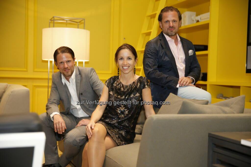 Neue Wiener Werkstätte eröffnet Flagshipstore in Wien: Geschwister Stefan, Karin und Karl-Hans Polzhofer von KAPO & NWW im neuen Flagshipstore in Wien (25.06.2014)
