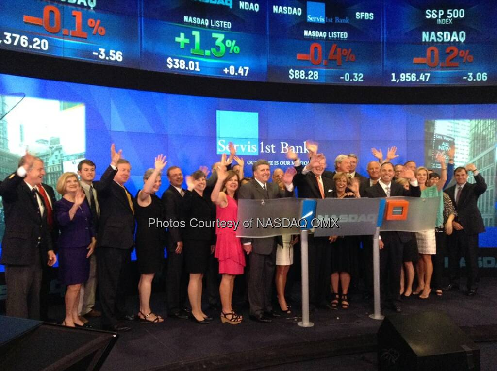 ServisFirst Bank rings the Nasdaq Closing Bell in celebration of its May 13th IPO!  Source: http://facebook.com/NASDAQ (27.06.2014)