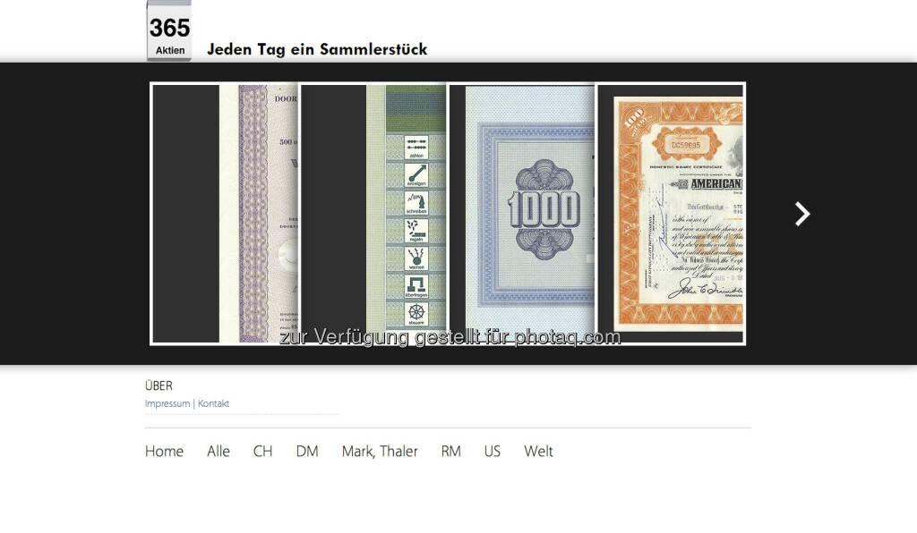 http://365aktien.de - eine Seite für Freunde historischer Wertpapiere von Ulrich W. Hanke (05.01.2013)