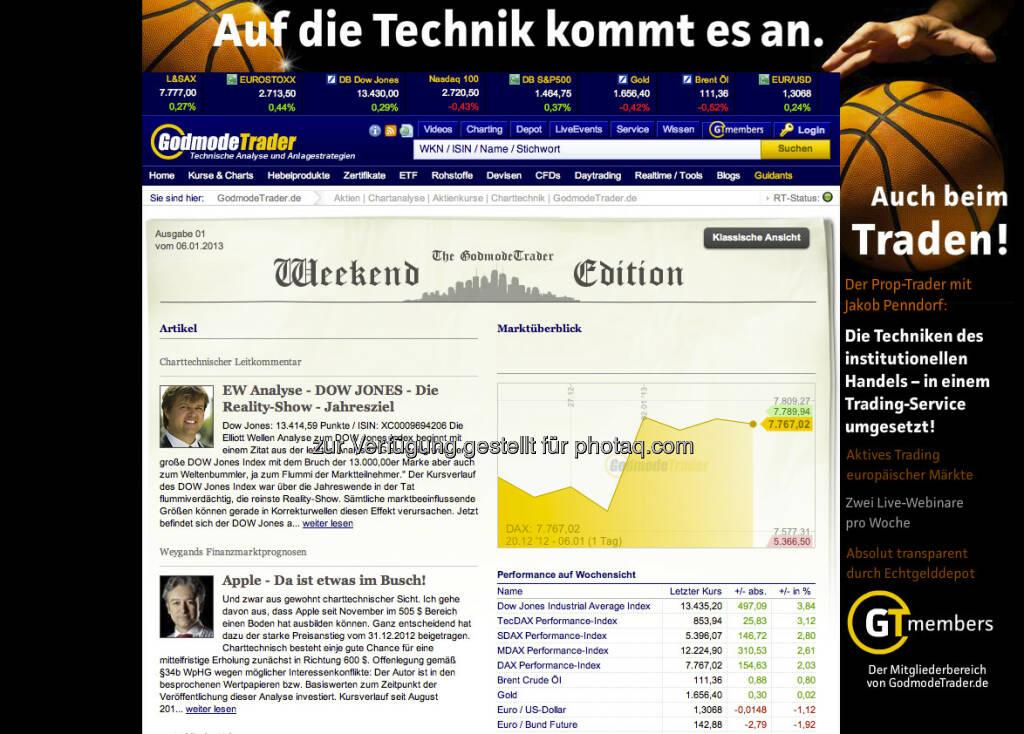http://www.godmode-trader.de/ : Die Tradersite Nr. 1 mit spezieller Weekend-Edition und spannenden wie edukativen Comments von Harald Weygand & Co. (06.01.2013)