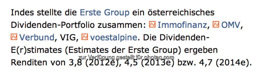 E(r)stimates ... für Estimates der Erste Group, lieb gemeint (Drastil) (07.01.2013)