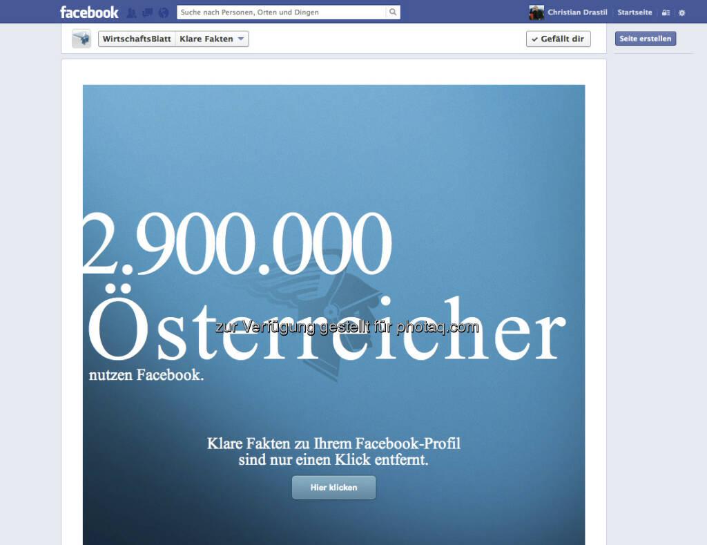 Klare-Fakten-App via Facebook-Gruppe von wirtschaftsblatt.at: Wie hoch ist der Gesamtwert Eurer Facebook-Freunde? (07.01.2013)