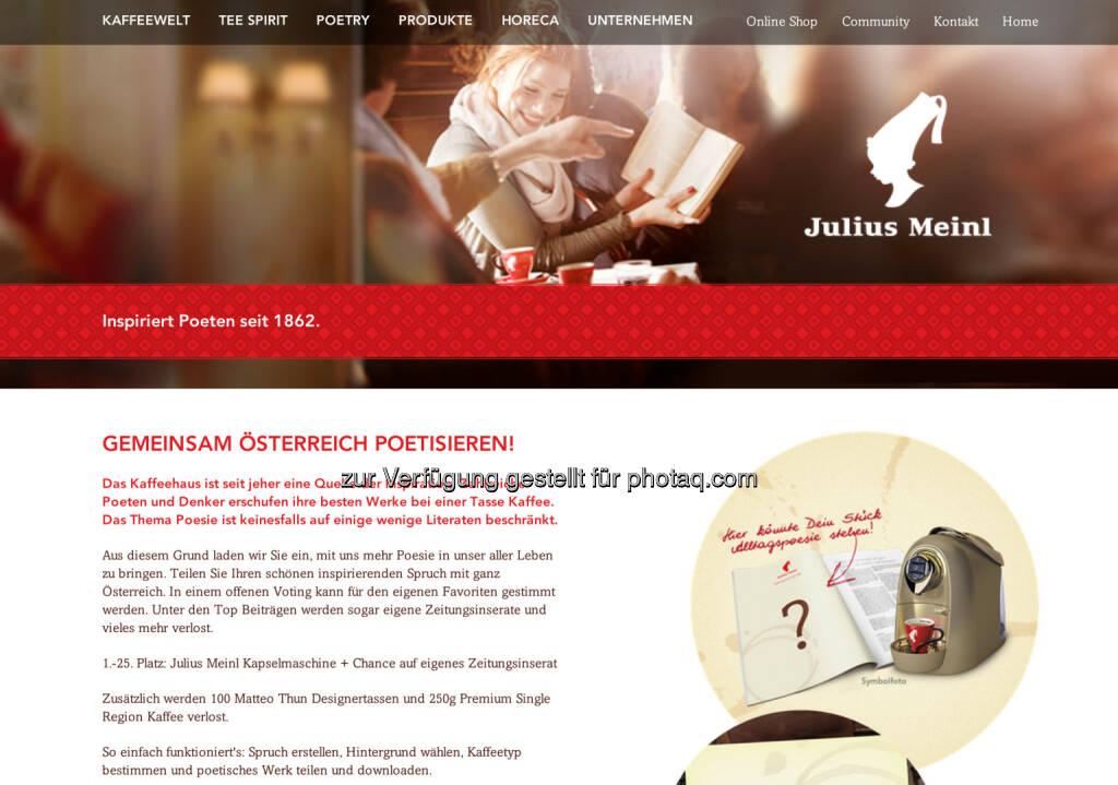 Julius Meinl inspiriert Poeten seit 1962 - http://www.meinlcoffee.com/de/at/meinl-stories/startpage-stories/gemeinsam-oesterreich-poetisieren.html, © Aussendung (06.07.2014)