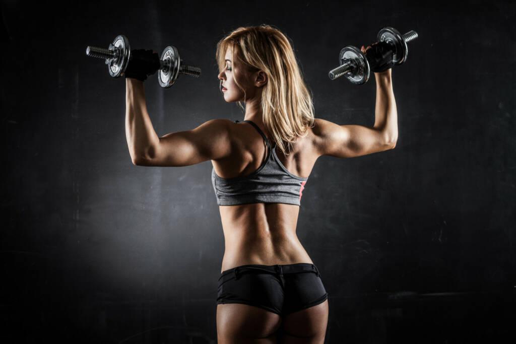 Kraft, Power, Stärke, Aufschwung, Muskel, Training, Ausdauer, Energie, stark,  http://www.shutterstock.com/de/pic-196322345/stock-photo-brutal-athletic-woman-pumping-up-muscles-with-dumbbells.html, © (www.shutterstock.com) (07.07.2014)