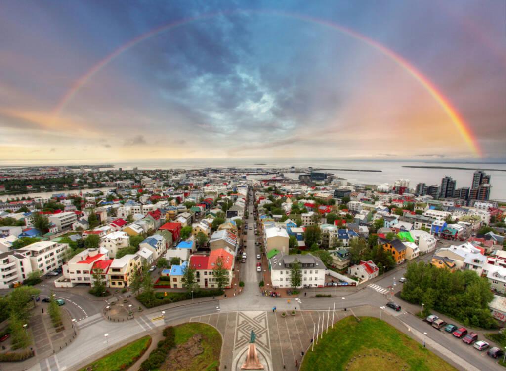 Reykjavik, Island, Regenbogen, http://www.shutterstock.com/de/pic-170753810/stock-photo-reykjavik-cityspace.html , © (www.shutterstock.com) (10.07.2014)