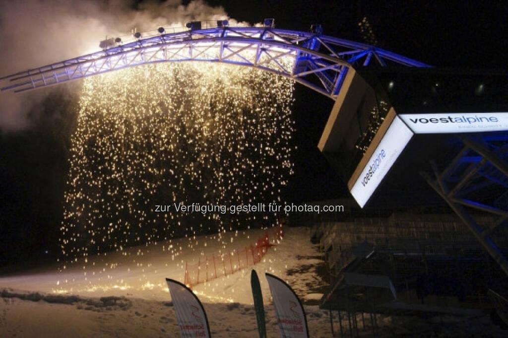 voestalpine skygate für die FIS Alpine Ski WM Schladming 2013 eröffnet (c) voestalpine-Aussendung (10.01.2013)